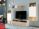 Wohnwand Anbauwand Schrankwand TV-Wand Mediawand Wohnzimmerschränke 'Sitito I' weiß/Eiche