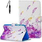 Samsung Tab 4 7.0 Hülle, Samsung Galaxy Tab 4(7.0 Zoll) Handy Hülle Schwarz Flip Schutzhülle Wallet Case für Samsung Galaxy Tab 4(7.0 Zoll) T230/T231 Magnet (Auto Schlaf/Wach) -Feder