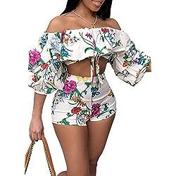 Mujer 2 Pedazos Set Crop Top Y Shorts Verano Vintage Elegantes Florales Clásico Fashion Beach Conjunto Mangas 3/4 Fuera del Hombro Chicos Sin Barriga Camisas Cortos Pantalones