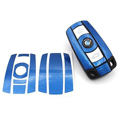 Schlüssel Folie BB für 3 Tasten Auto Schlüssel (nur Keyless Go) Folien Cover von Finest-Folia (Blau Metallic)