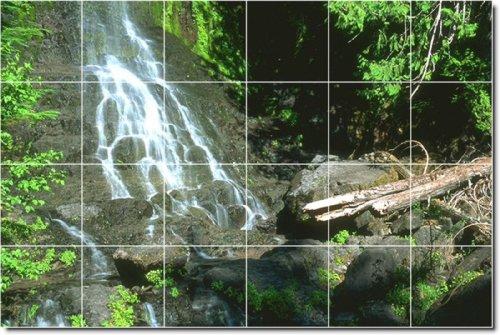 CASCADAS FOTO PARA AZULEJOS MURAL 6  48X 182 88CM CON (24) 12X 12AZULEJOS DE CERAMICA