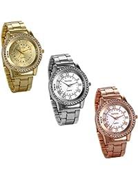 JewelryWe 3pcs Relojes de Hombre Caballero Clasico Reloj de Acero Inoxidable Retro Vintage Números Romanos,