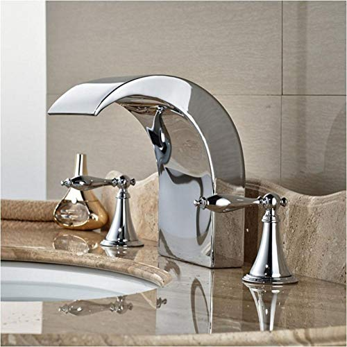 Deck Mount Tub (Wasserhahn Luxury Big Brass Waterfall Spout Bathroom Faucet Deck Mount Two Handle Tub Sink Mixer Tap Chrome Finish)