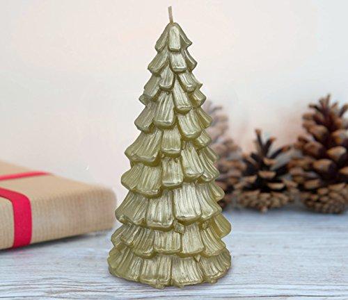Candela albero di natale verde dorato grande partito decorativo dono cera naturale 400g 50hrs