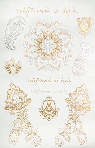 Beauté maquillage corps: Tatouages temporaires motifs mandala life is beautiful