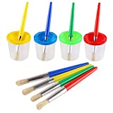 VEYLIN 4 Pieces Paint Brushes and 4 pieces Paint Pot with Lids Kids Children School Equipment