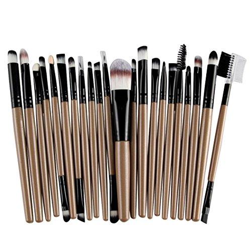 Pinceaux Maquillage, Tonsee 22Pcs/set Outils professionnels pinceau de maquillage Set Maquillage Trousse de toilette Laine Maquillage, Café