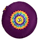 Yogabox Meditationskissen Glückssitz Chakra, aubergine / 7. Chakra Kronen-Chakra mit OM (Sahasrara)