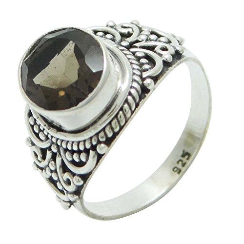 Banithani 925 Reinem Silber Smokey Topas Edelstein-Ring Indian Ethnischen Modeschmuck Für Frauen (Smokey Ringe Topas)