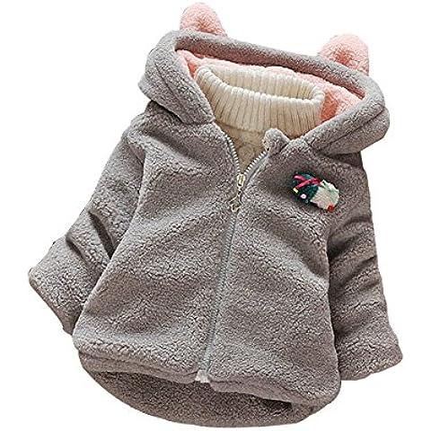 YOUJIA Bambine Ragazze Caldo Cappotto con Cappuccio di Coniglio Giacca in pile Bimbi