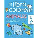 Mi primer libro para colorear ANIMALES — A partir de 2 años — Libro de dibujar para niños y niñas con 50 motivos de animales,