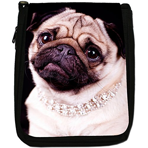 Asiatica carlino Dogs in porcellana Love, colore: nero, Borsa a spalla in tela da uomo, taglia media Princess Pug Wearing Diamonds