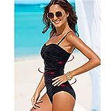 SWIWOTOER Sexy One Piece Swimsuit Plus Size Swimwear Women Beach Spitzen Häkeln Badehose Retro Badeanzug Bademoden X020 BL XXL