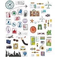 Polaroid Vivaci Adesivi Decorativi a Tema Viaggio per Progetti su Carta Fotografica da 5x7,5 cm (Snap, Zip, Z2300) - 2 Fogli Unici - Forza Snap