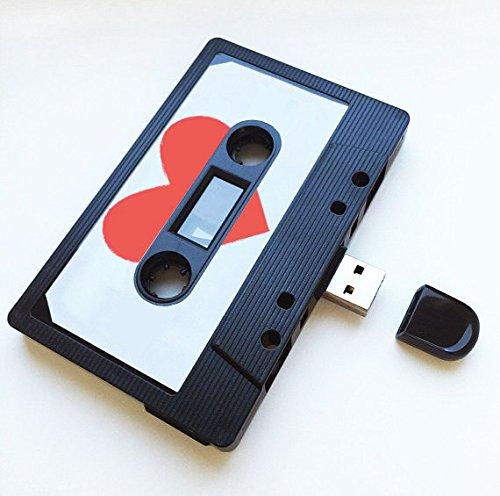 USB auténtico mixtape-retro personalized- Quirky Regalo–amantes de la música, presente, novio, novia, 90s, unidad flash negro 8 gb