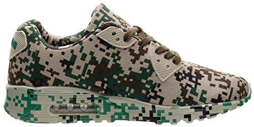 Joomra Unisex Camo Cuscino Daria Per Il Tempo Libero Sneaker 3 Colori 36-46 Verde Mimetico