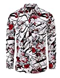 Jandukar Uomo Cotone Manica Lunga Camicia Stampata(Rosa Pesca,M)