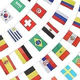Godlove Fahnenflagge für WM 2018, Gruppe Match 32 Teams Länder Fußball Dekoration Banner für Restaurants, Sportbar, Spielnacht, 33 Fuß 32 Flaggen