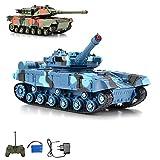 German Leopard RC ferngesteuerter Panzer mit Schusssimulation und Drehbarem Turm um 180°, Kettenfahrzeug, Komplett-Set inkl. Fernsteuerung, Akku und Ladegerät