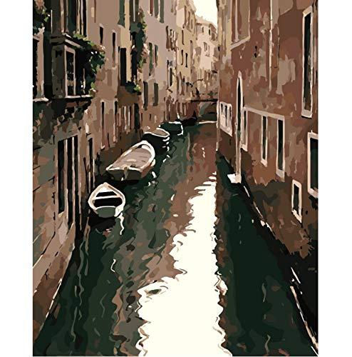akeansa Diamant Malerei Kit 5D wässrige Stadt Boot zwischen Gebäude DIY Digitale Malerei malen Bilder Cott Decor 50 X 40 cm (Kinder Sparkle Boots)