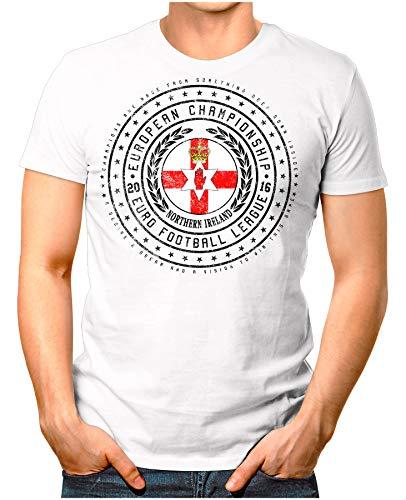 OM3® - Northern Ireland - Herren T-Shirt Nordirland Wappen Fußball Trikot EM'16 WM Championship Vintage Weiß M