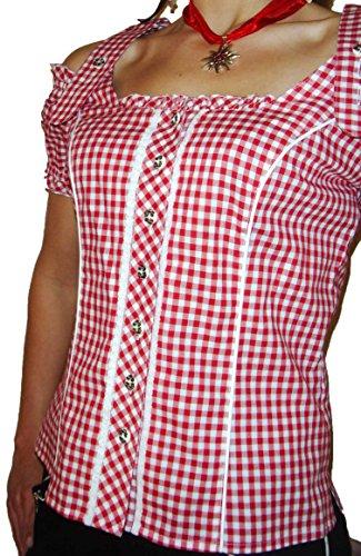 Trachtenblus'avec carmenarm rouge à carreaux Rouge - Rouge