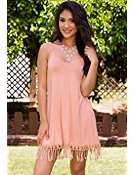 La Sra. verano vestidos de encaje la mujer tira de cantear encaje faldas cortas de verano ,hembra rosa,XL-YU&XIN