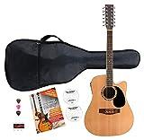Classic Cantabile WS 12Kit guitare Western (de 12cordes, micros, médiators, accordeur de poche, école avec CD/DVD), naturel