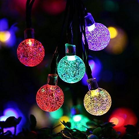 Guirlande lumineuse d'extérieur Globe, Satu Marron 30boule de cristal LED 21cm 6,5m feston éclairage d'ambiance fête GUIRLANDE solaire festive pour Noël, Patio, Jardin, cour Deck & # nitrure; Multicolore)