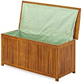 Coffre boîte de rangement jardin 117x50x59cm en acacia avec bâche intérieure