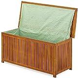 Deuba Auflagenbox Holz | Akazie | XXL 117cm | mit Innenplane | vorgeölt | Holztruhe Holz Kissenbox Gartenbox Gartentruhe Truhe