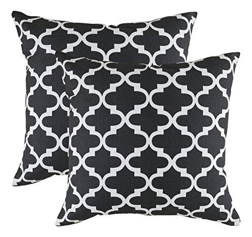 TreeWool, 2 Stück Überwurf-Kissenbezüge Spalier Akzent Dekorative Kissenbezüge Wurfkissen Kissenbezüge Schonbezüge für Sofa Couch (2 Stück). Marokkanisch 24 x 24 Inches schwarz/weiß -