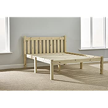 this item strong double pine bed 4ft 6 double bed frame solid pine complete with solid base slats and centre rail - Strong Bed Frame