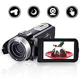 COMI VideoKamera Camcorder Full HD 1080p 24MP Digitalkamera mit Mikrofon Nachtsichtkamera mit Fernbedienung Pause Funktion