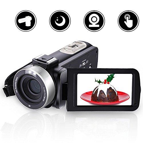 VideoKamera Camcorder Full HD 1080p 24MP Digitalkamera mit Mikrofon Nachtsichtkamera mit Fernbedienung Pause Funktion