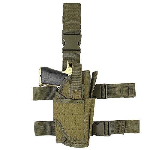 YooGer Bein, Taktische Pistole Oberschenkel Tasche einstellbar Military Airsoft Gun Halter multifunktionale Ersatzbeutel (Armee grün)