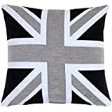 EHC de bandera de Reino Unido funda para cojín de felpilla - Negro/Gris
