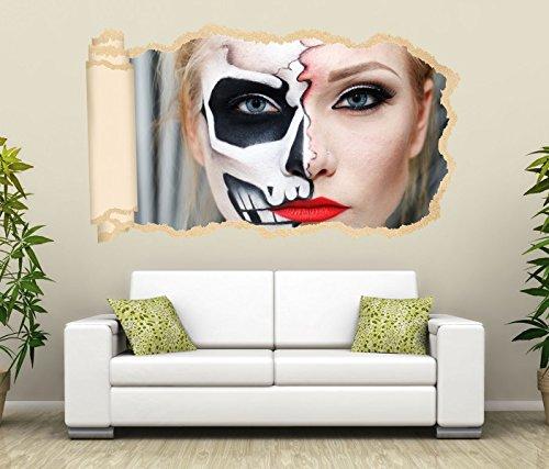 3D Wandtattoo Monster Gesicht Horror Maske halb Frau Tapete Wand Aufkleber Wanddurchbruch Deko Wandbild Wandsticker 11N2099, Wandbild Größe F:ca. 97cmx57cm (Frau, Das Gesicht Halb-maske)