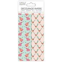 Simply Creative Flores y follaje Deco Mache x 4 pañuelos de papel hoja de papel