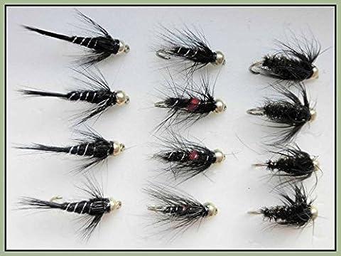 Gold Head Nymph Trout Flies, 12 Pack, Bibio, Black/Peacock, Black/Silver 10/12