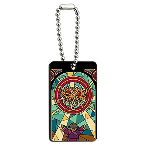 Flying Spaghetti Monster Stained Glass Wood Wooden Rectangle Keychain Key Ring
