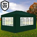Deuba Festzelt Maui 3x4m Grün | 12m² Pavillon mit 4 aufrollbaren Seitenwänden | wasserabweisend | UV-Schutz 50 + | Farbauswahl