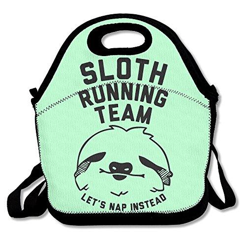 DaHong Zi Faultier Running Team Lunchtasche Lunch-Boxen Lunchpaket für Damen und Herren One Size Schwarz - Team Bekleidung Trikot Hat