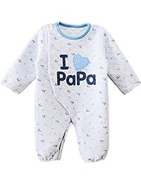 Happy Cherry Mono Pijama de Algodón Pelele Cartoon Ropa de Una Sola Pieza para Bebé Niña Niño Unisex Infantil Jumpsuit Baby Romper Color Rojo/Azul a Elegir