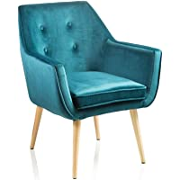 MONTEMAGGI Fauteuil Glam en velours bleu pétrole avec pieds en bois 65 x 65 x 85 cm