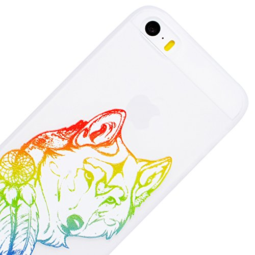WE LOVE CASE iPhone 5S / 5 / SE Hülle 3D Scheuern Entlastung Kaktus iPhone 5S / 5 / SE Hülle Silikon Weich Grün Handyhülle Tasche für Mädchen Elegant Backcover , Soft TPU Flexibel Case Handycover Stoß Wolf