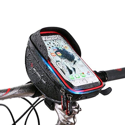 LUFA Mountain Bicycle TPU 6.0 Zoll Touchscreen Telefon Speicher Taschen Hangbar Wasserdichte Front Zipper für 6,0 Zoll Telefon und unten Schwarz und Rot