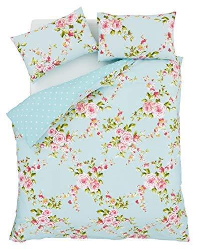 Pink Rose Floral Bedruckt Baumwollmischung King Size Reversibel Bettdecken-Satz (Tröster Bettwäsche-bettwäsche-satz)
