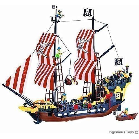 Barco pirata grande 870 piezas 8 piratas Mar Caribe compatible con bloques de construcción