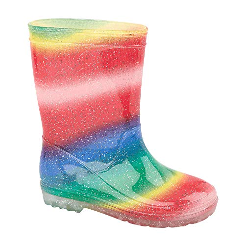 viz-uk wear Girls Rainbow Bright Sparkly Glittery Rain Snow Wellies Wellington Boots